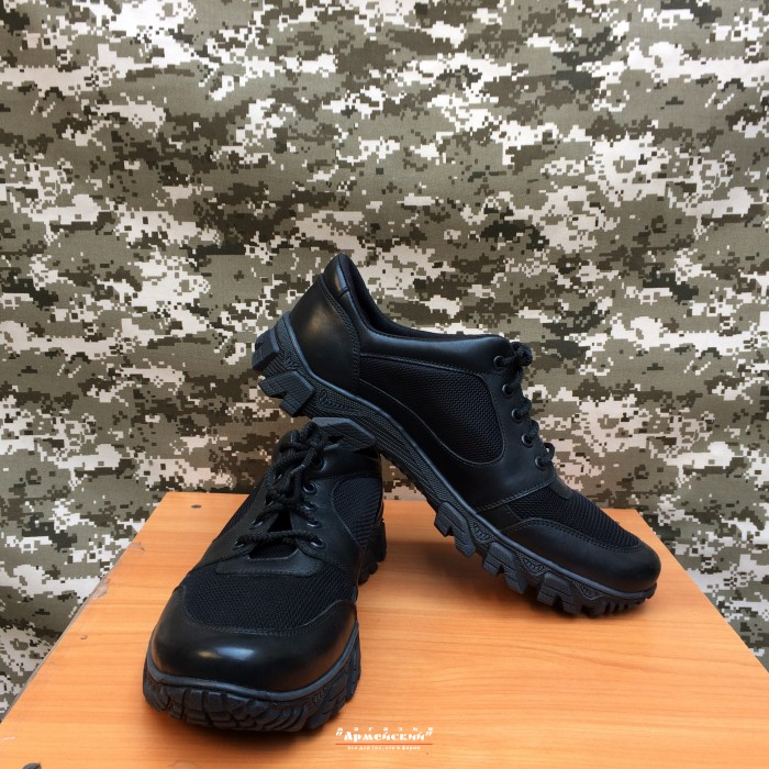 Тактичні шкіряні кросівки з вставкою Extreme / Чорні