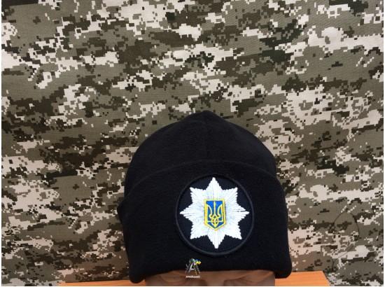 Шапка полиции флисовая с отворотом  / Черная