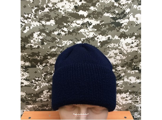Шапка вязаняя с отворотом / темно-синяя