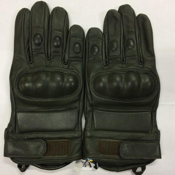 Тактические перчатки / Олива / Кожа