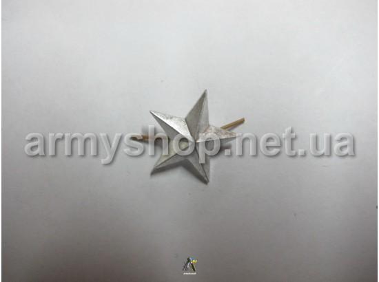 Звезда большая, серебряная, гладкая, металлическая