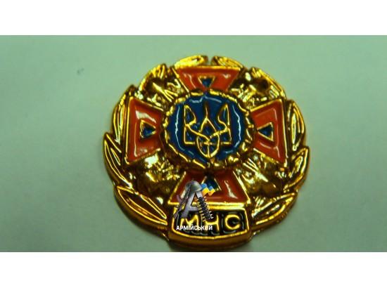 Эмблема МЧС золотая, оранжевый крест