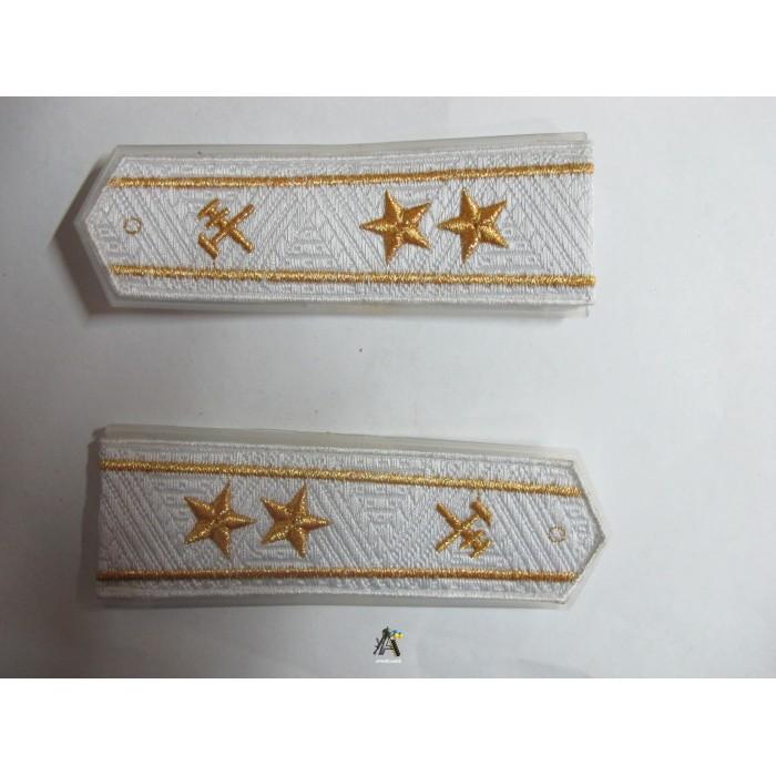 Погоны ЖД белый старший две звезды (паркет)