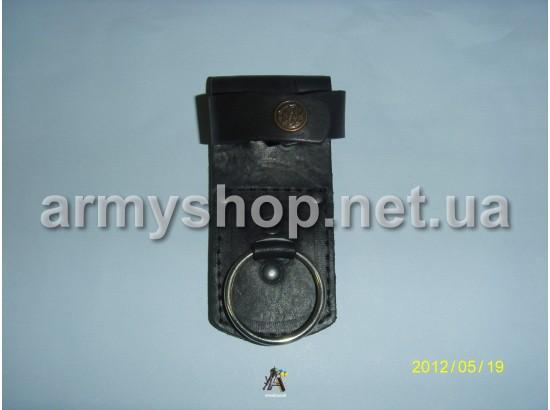 Чехол для дубинки кожаный, черный с кольцом