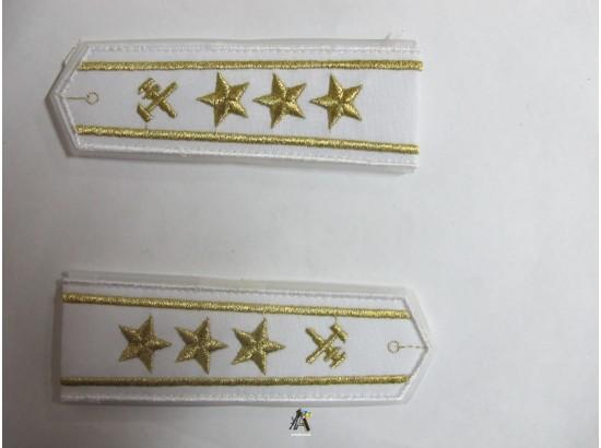 Погоны ЖД белый старший три звезды