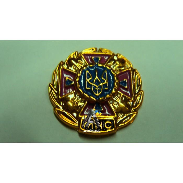 Емблема МНС золота, малиновий хрест