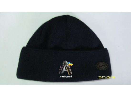 шапка вязаная с отворотом темно синяя