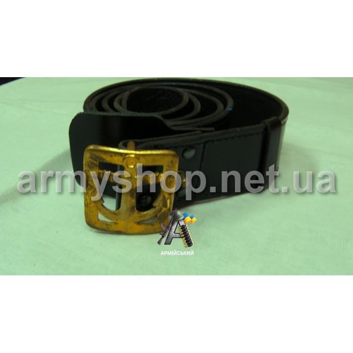Ремень генеральский, черный, кожаный, пряжка с якорем-2